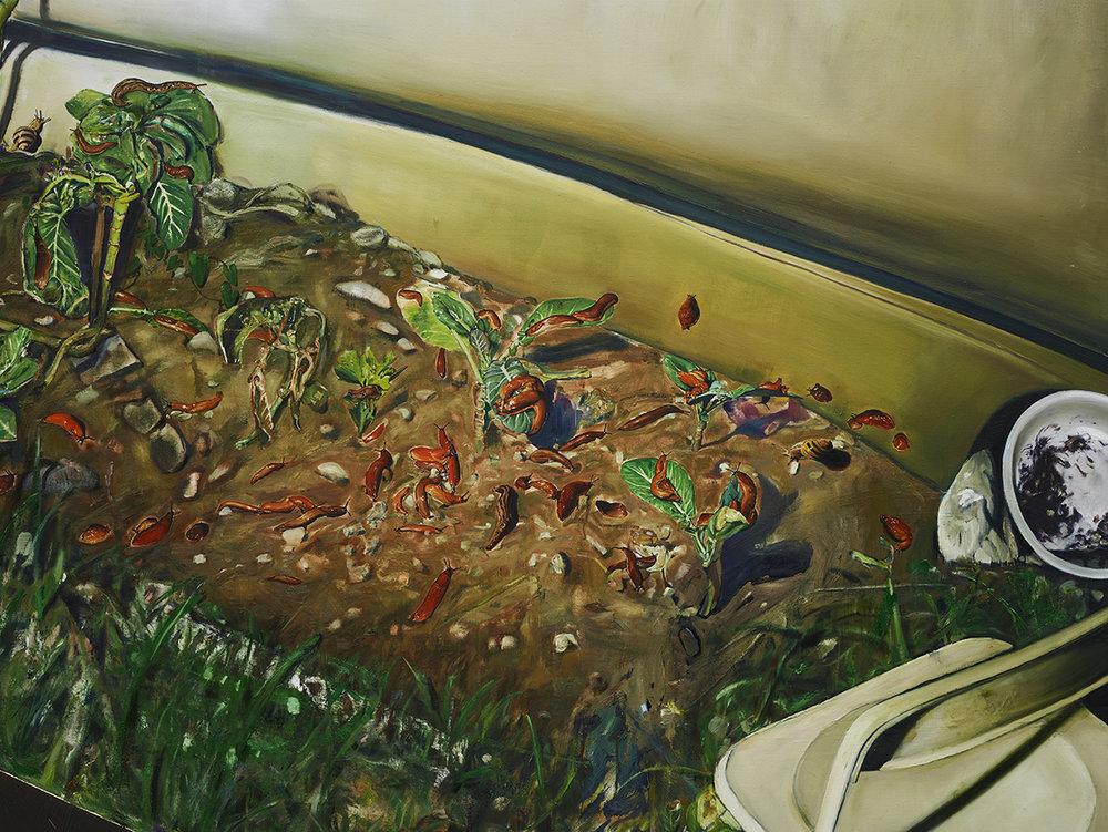 """Léopold Rabus, """"Limaces sur des choux"""", huile sur toile, 300x240 cm, 2017."""