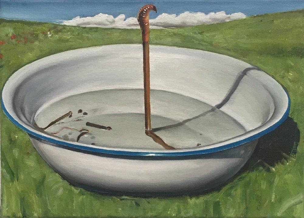 Léopold Rabus, « Lombric sauvé des eaux », huile sur toile, 23×32 cm, 2017.