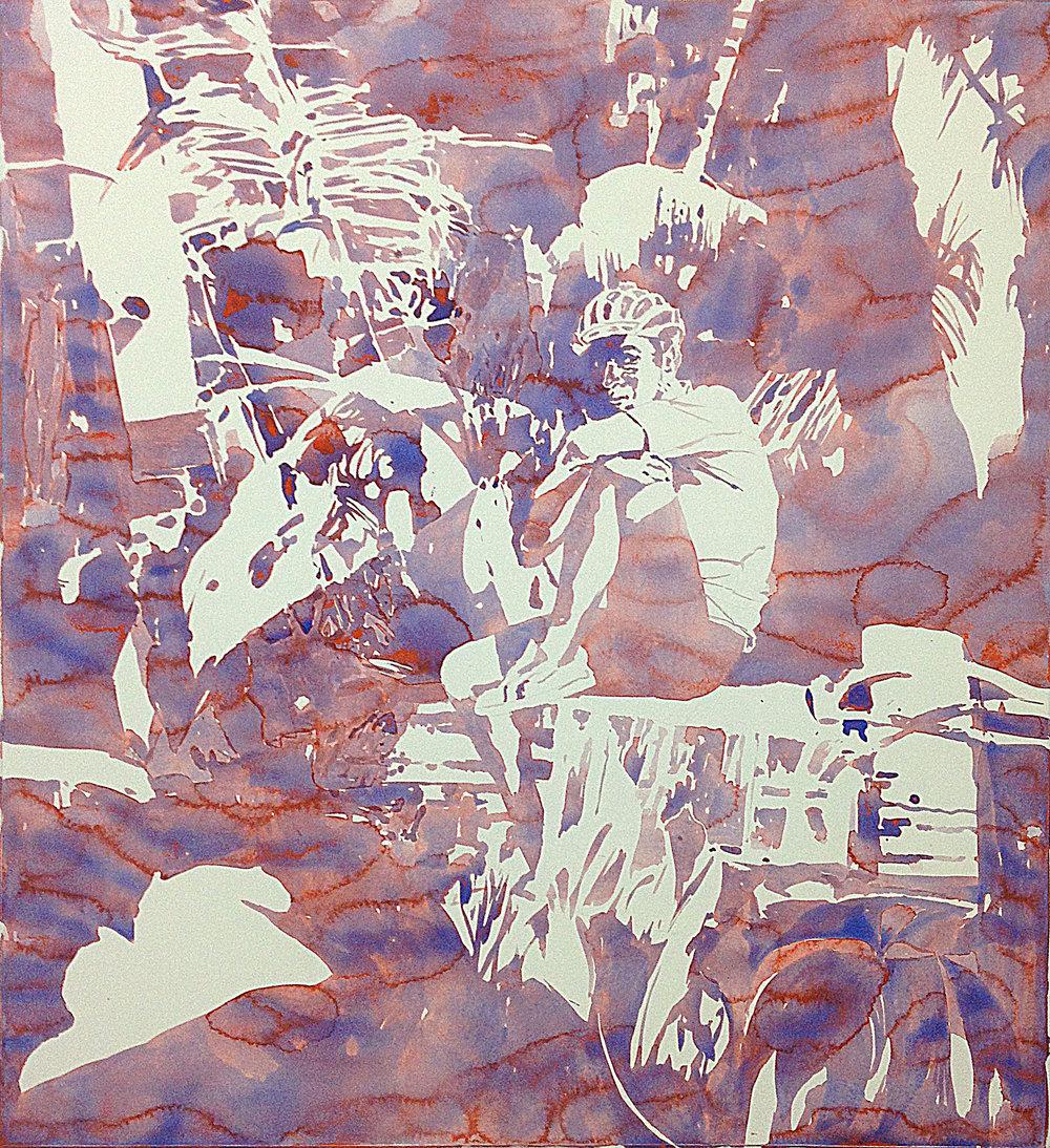 """Michael Rampa, """"Faune"""", aquarelle et crayon sur papier, 107.6 x 97.8 cm, 2016."""