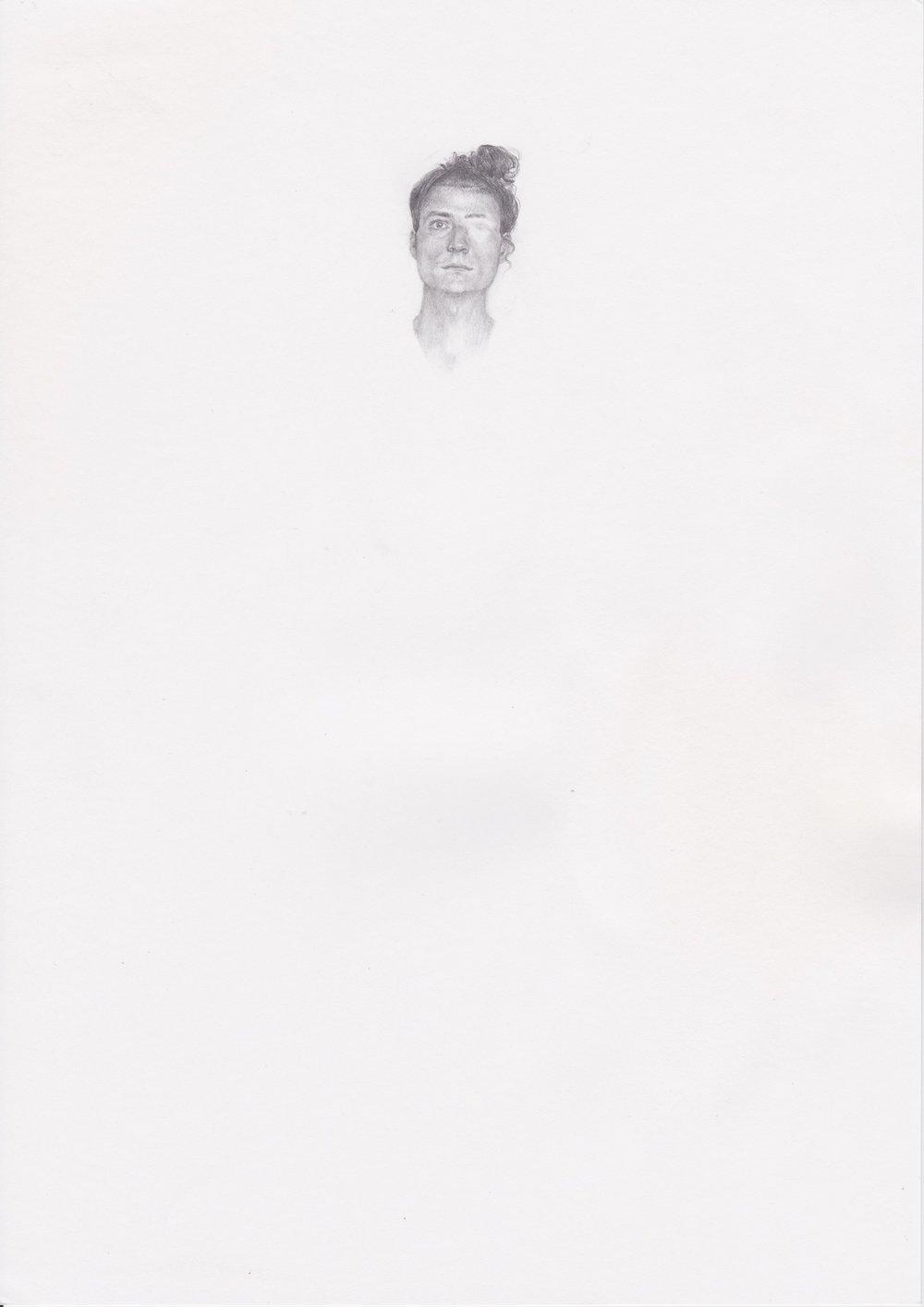 """Michael Rampa, """"Steve"""", crayon sur papier, 29.7x21cm, 2012."""