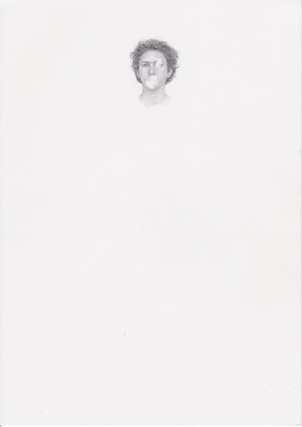 "Michael Rampa, ""Daniel"", crayon sur papier, 29.7x21cm, 2012."