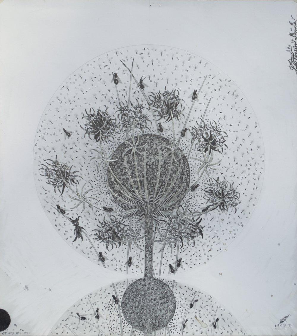 """© Hipkiss, """"1107 - Capitule 2"""", 40x36 cm, mine de plomb, encre argentée et feuille d'or blanc sur papier Fabriano 4, 2018, Courtesy Galerie C"""