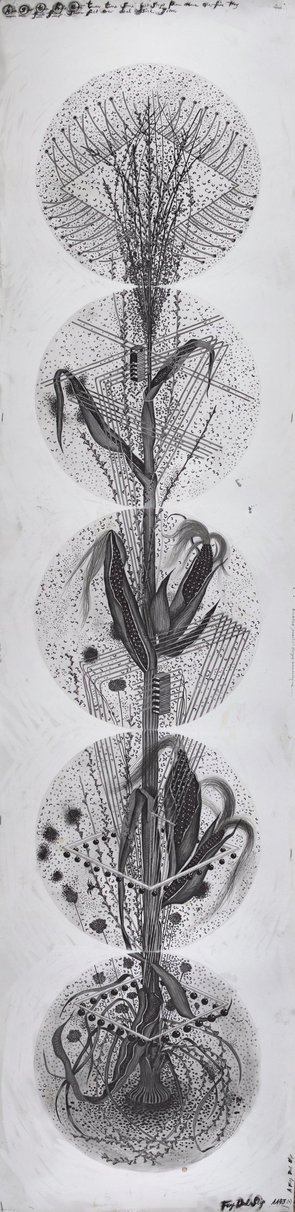 """© Hipkiss, """"1143 - Instar 4"""", 165x40 cm, mine de plomb, encre argentée et feuille d'or blanc sur papier Fabriano 4, 2018, Courtesy Galerie C"""
