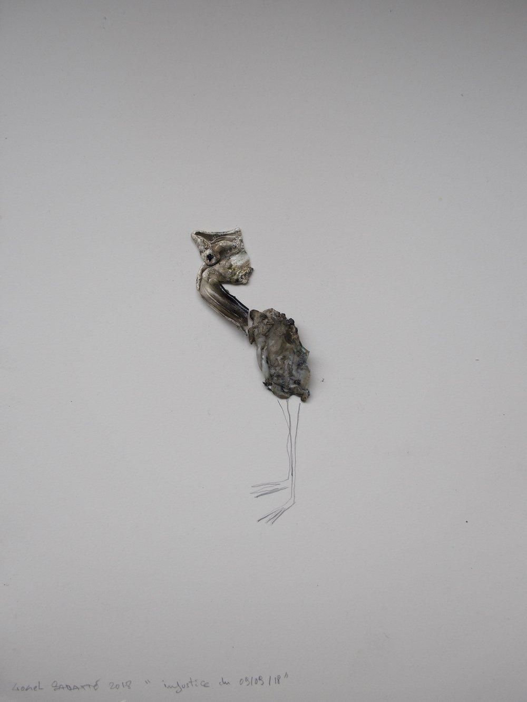 """© Lionel Sabatté, """"Injustice du 09/09/18"""", plastique brûlé, crayon, matériaux divers, 40x30 cm, 2018, Courtesy Galerie C"""