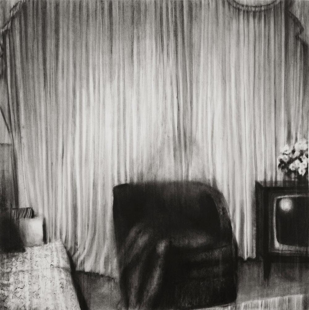 """Guy Oberson, """"Love Identity 5"""", pierre noire sur papier, 150x150 cm, 2019."""