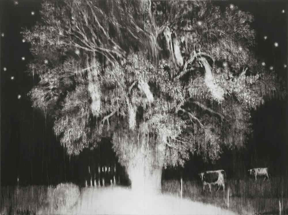 """Guy Oberson, """"La chute des chouettes effraies"""", pierre noire sur papier, 180x240 cm (diptyque), 2019."""