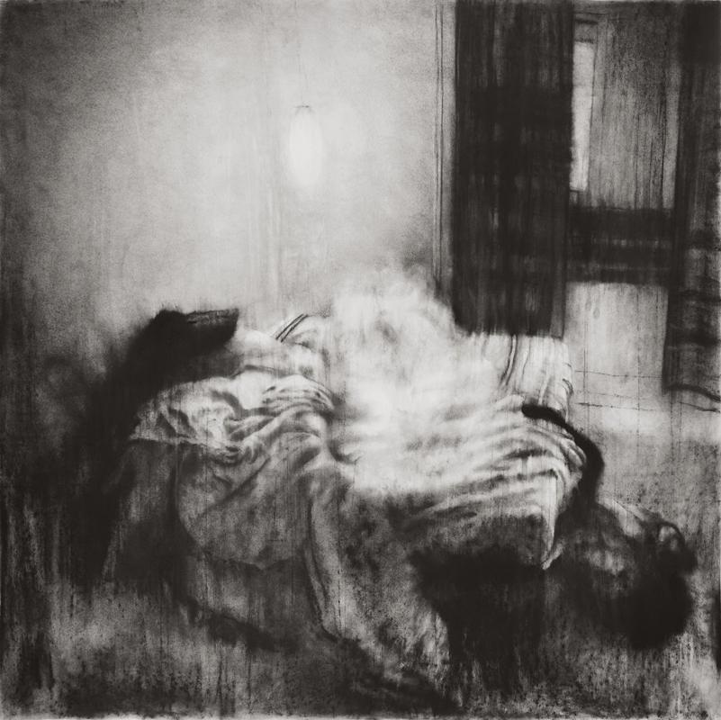 """Guy Oberson, """"Love Identity 1"""", pierre noire sur papier, 150x150 cm, 2017."""