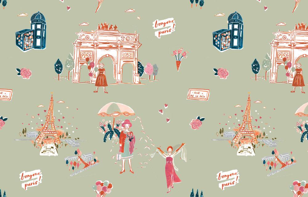 Bonjour Paris! - Modern Toile