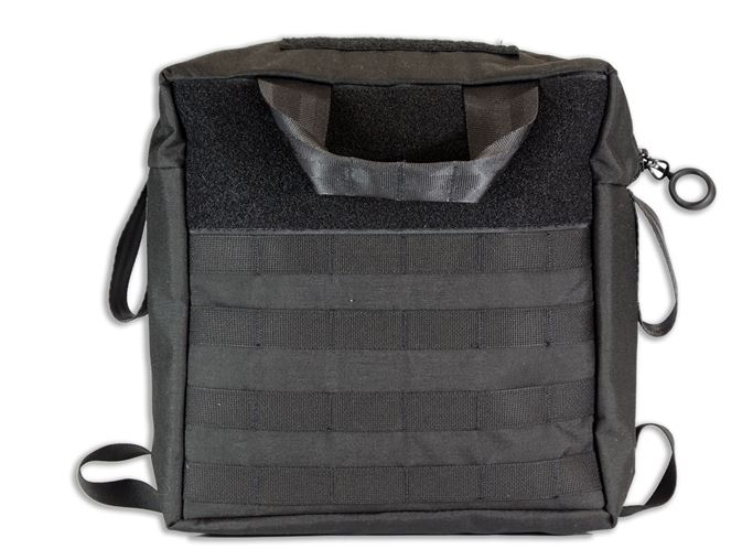 Four rows of MOLLE compatible webbing allow you to affix smaller MOLLE pouches to the outside.