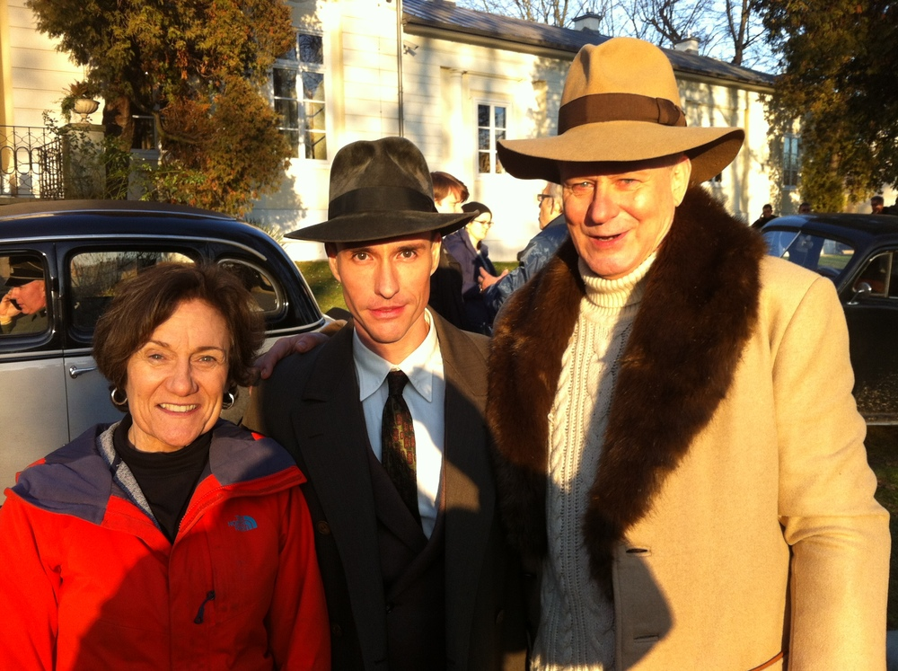 on set with Martha Cooldidge and Stellan Skarsgard