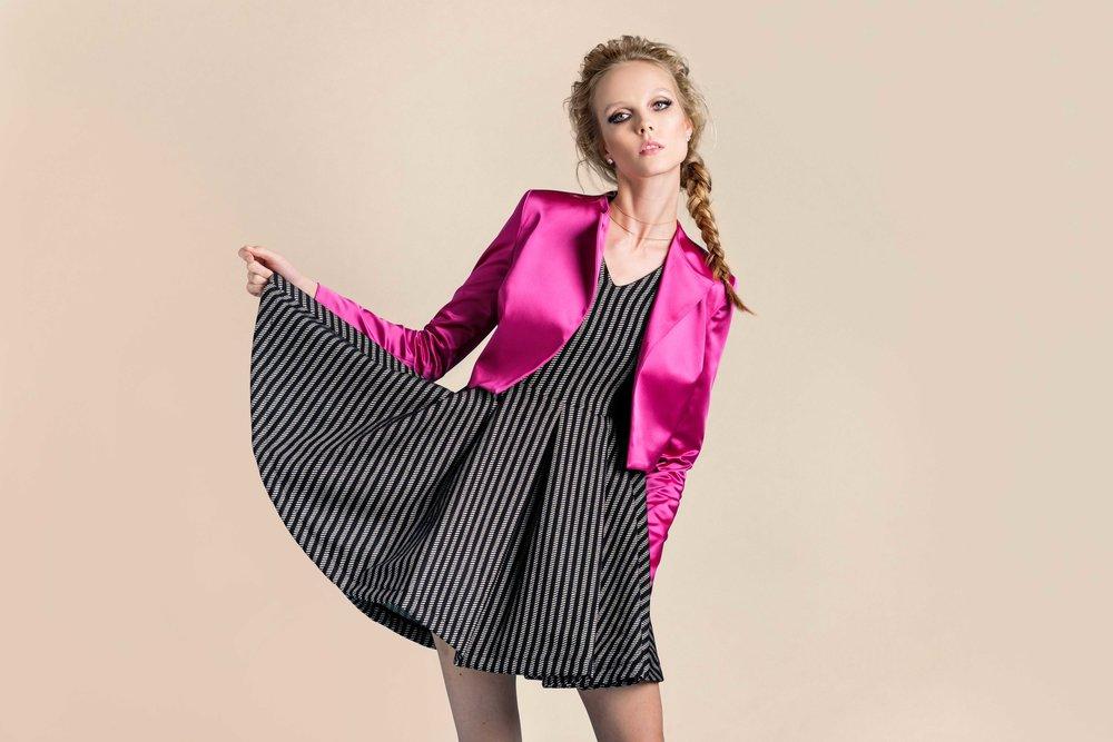 Austin Dress  |  Cropped Satin Jacket