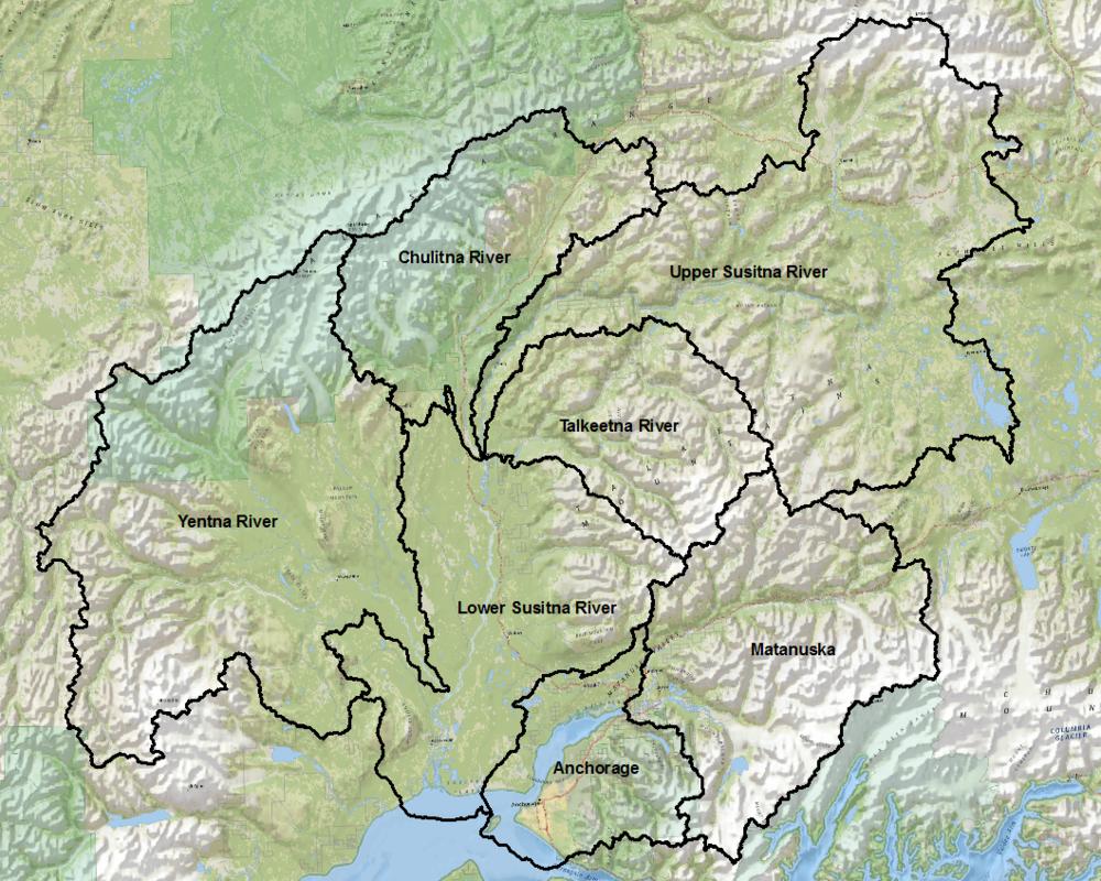 Matanuska/Sustina Watershed Basin HUC's