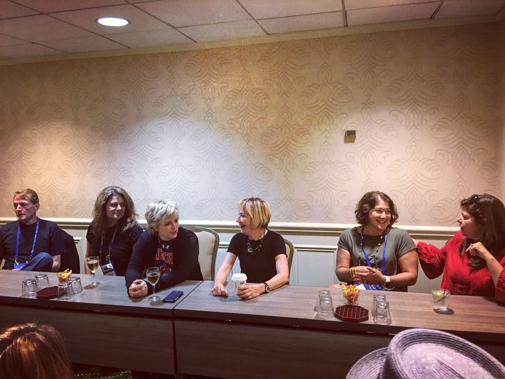 Left to right: Lee Child, Sara Blaedel, Karin Slaughter, Kate White, Alafair Burke, and Lisa Unger. WOWZA.
