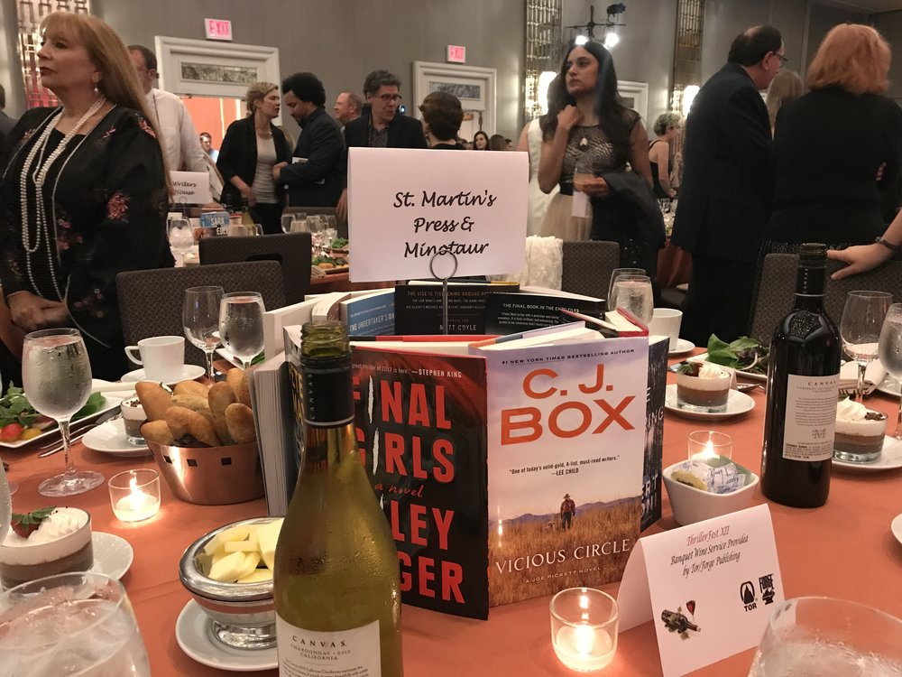 Fancy table. Everybody wanted that copy of Riley Sager's new book, FINAL GIRLS.