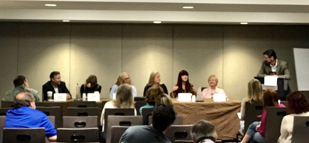 Left to right: Kelly Parsons, Jonelle Patrick, me, Melissa MacGregor, Nina Laurin, Diane Capri, and moderator Allen Eskens. (Photo credit: Nina Laurin)