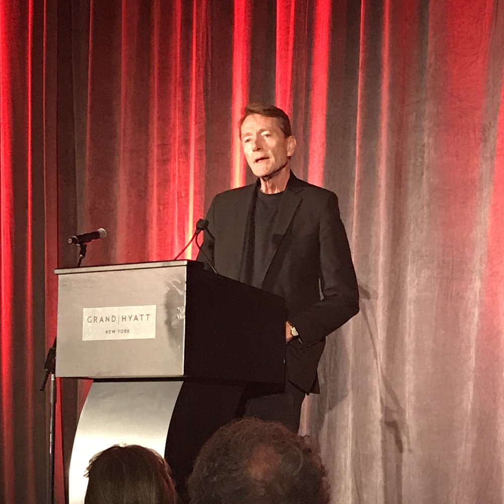 Lee Child, author of the Jack Reacher series, accepting his Lifetime Achievement Award.