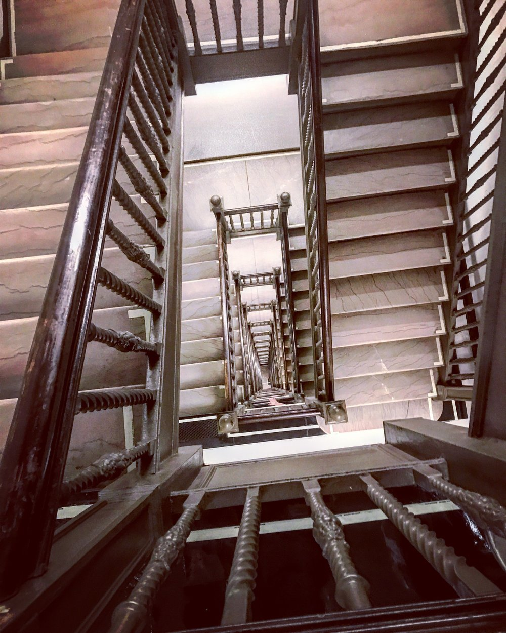 The crazy, amazing, terrifying staircase inside the Flatiron Building that gave me vertigo. My editor assured me that nobody has fallen from here, but I don't know if I believe him . . .
