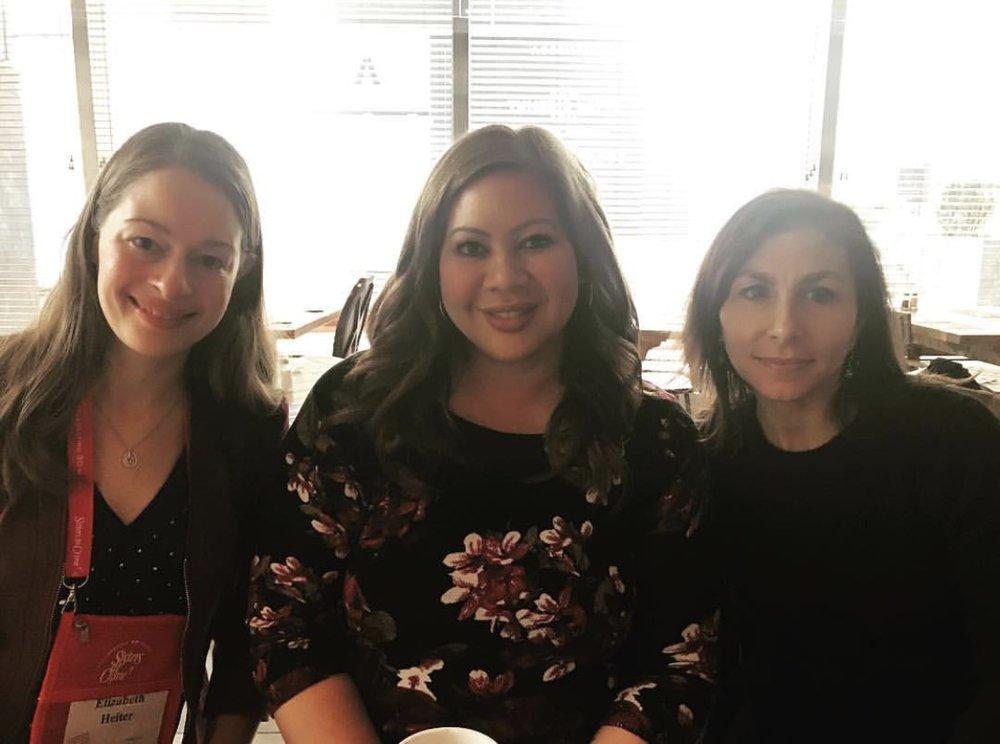 Sandwiched between two of my favorite ladies! Elizabeth Heiter, me, and Shannon Kirk.