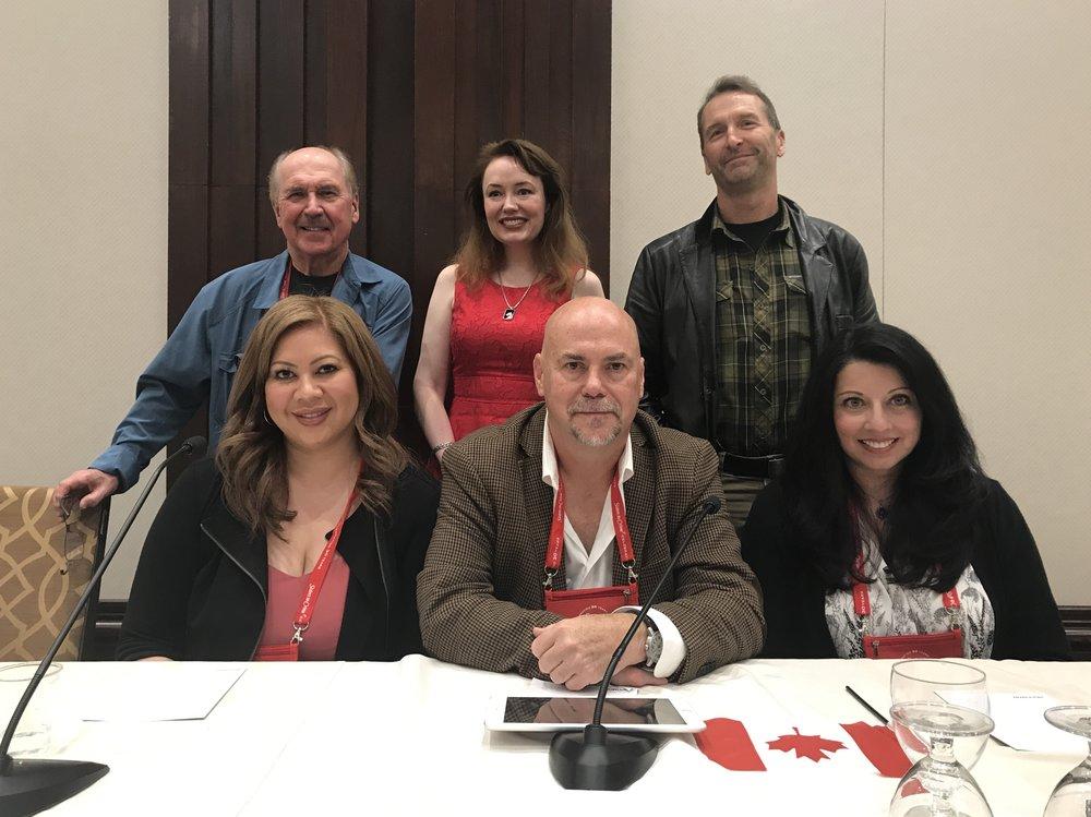 Standing, left to right: David Morrell, Hilary Davidson, Paul E. Hardisty. Seated, left to right: Me, Kevin Burton Smith, Ausma Zehanat Khan.