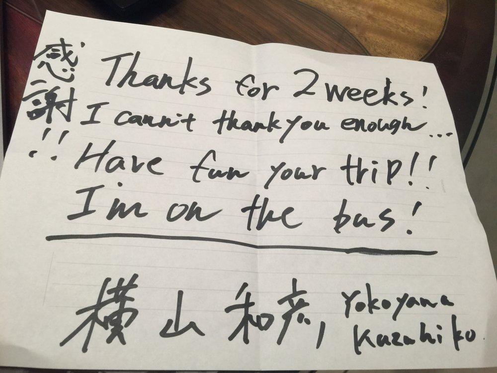Farewell letter from Kaz