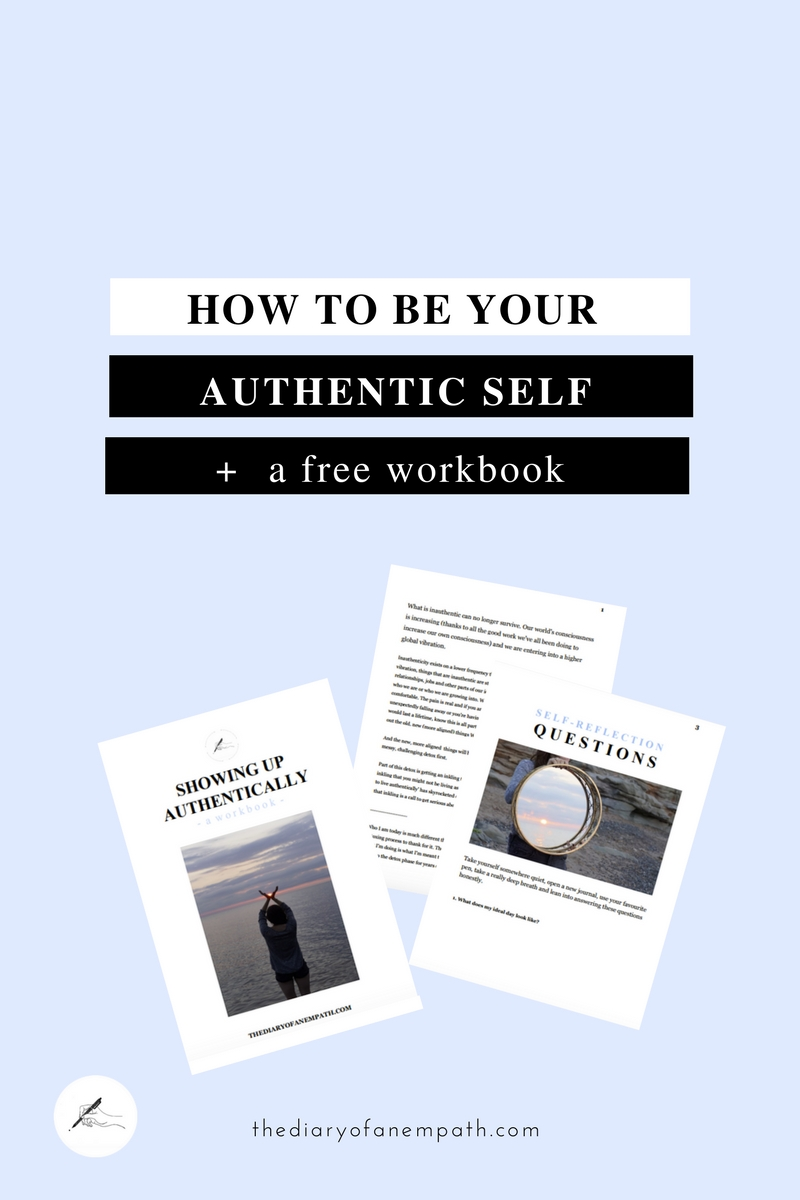 how to be your authentic self, a 20-page workbook to help you move through your fears of showing up