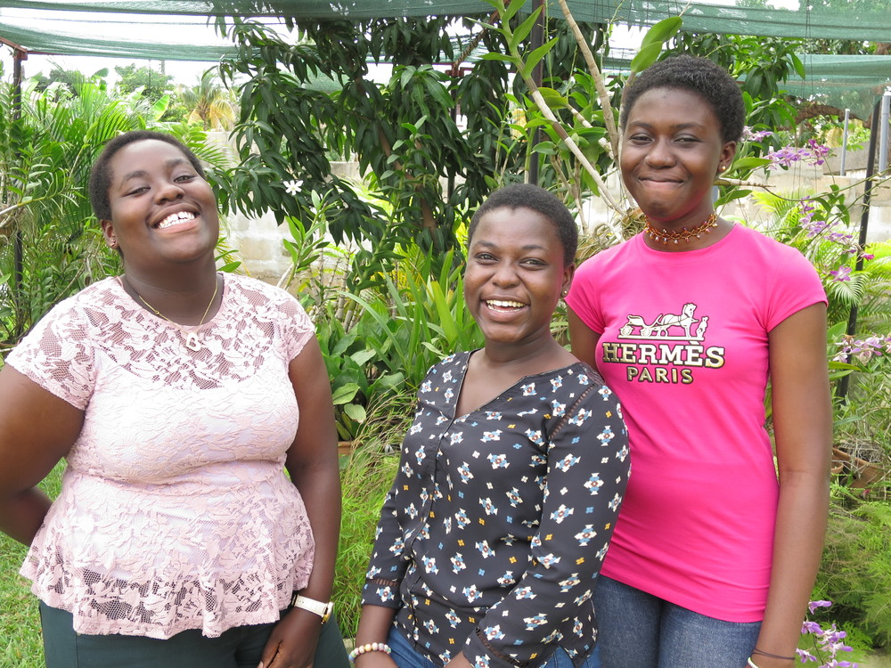 Maame Serwaa Abrokwaa, Form 2, Club President (left)   Comfort Owusu-Ansah, Form 2, Vice President (centre) Angela Darkey, Form 2, Organizing Secretary (right)
