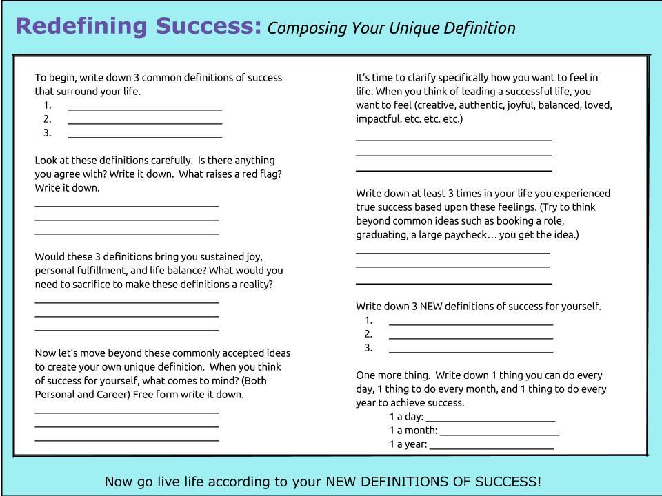 Redefining Success PDF Worksheet