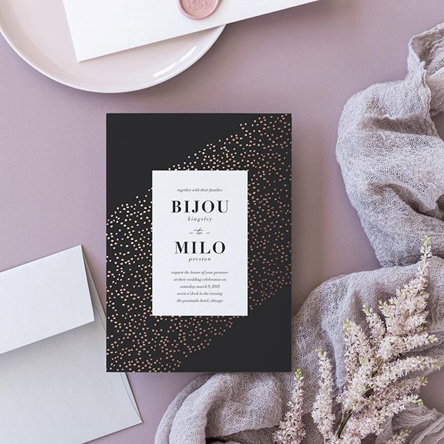 TGIF, friends! 😊 Here's another @minted wedding entry of mine (and personal favorite!) titled, bijou: foiled speckles and edgy vibes. 🖤