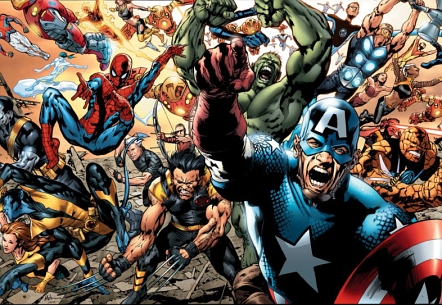 Early roster of Marvel's Ultimate universe by Bryan Hitch
