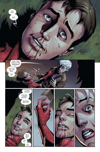 Peter's final moments by Bendis and Bagley