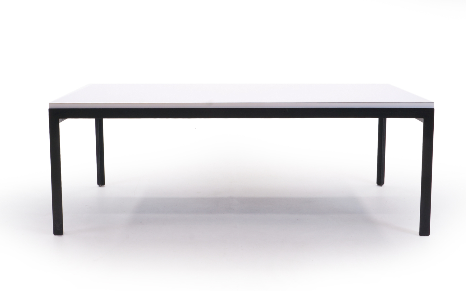 florence knoll coffee table, white laminate, black steel frame
