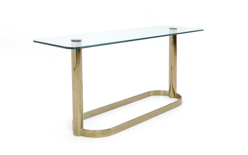 Pace Collection Glass Console Sofa Table With Brass Base Retro Inferno