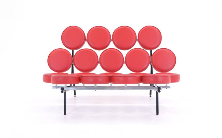 Red Leather George Nelson For Herman Miller Marshmallow Sofa