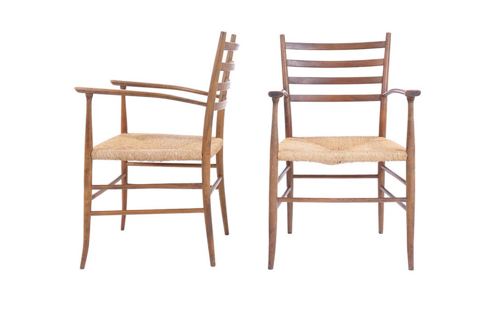 Pair Of Ladder Back Chairs In The Style Of Gio Ponti, Made In Italy