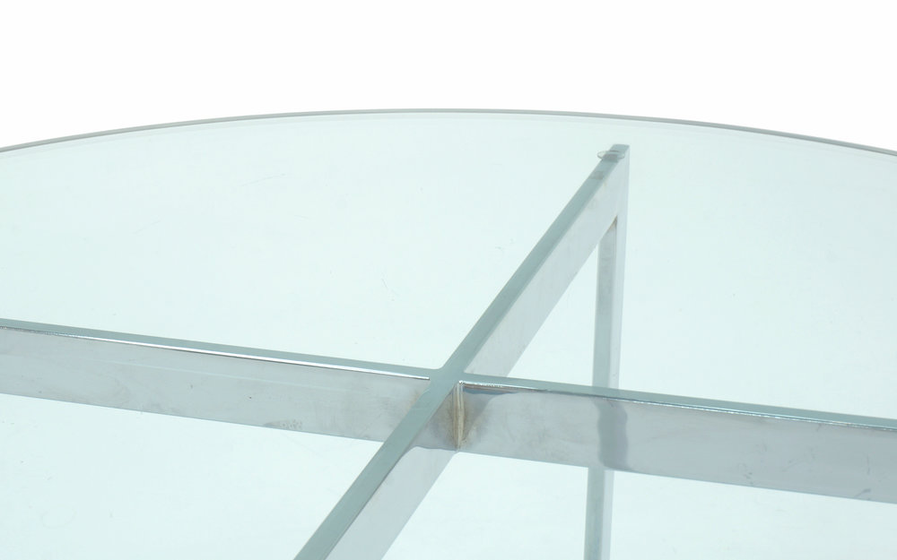 Milo Baughman For Thayer Coggin, Round Chrome And Glass Coffee Table