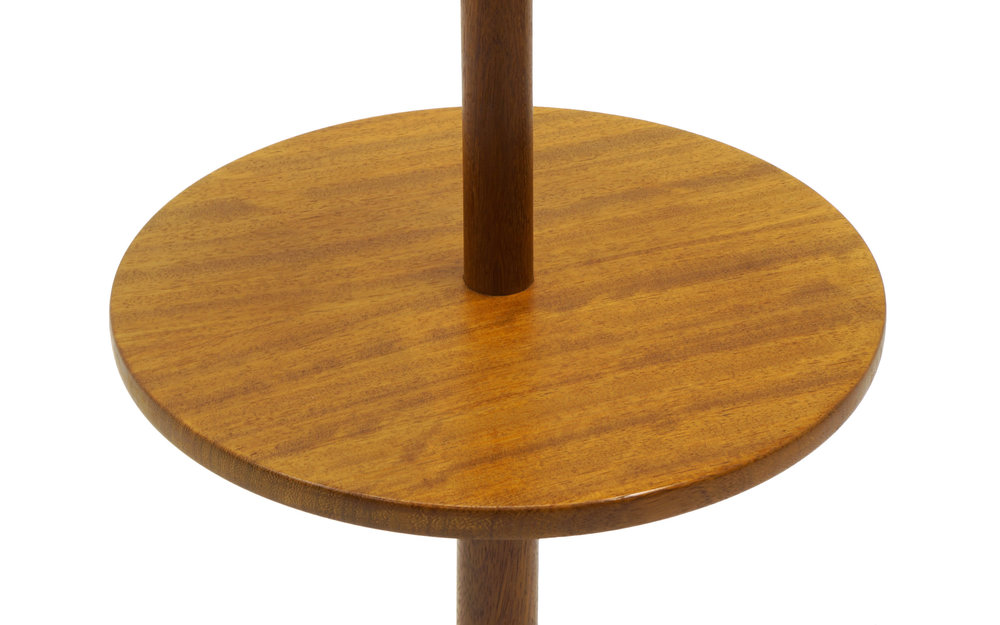 Danish Modern Solid Teak Floor Lamp With Attached End Table And Teardrop  Base