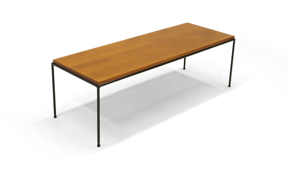 Paul McCobb Planner Group Bench/Coffee Table, Solid Staved Wood And Iron  Base