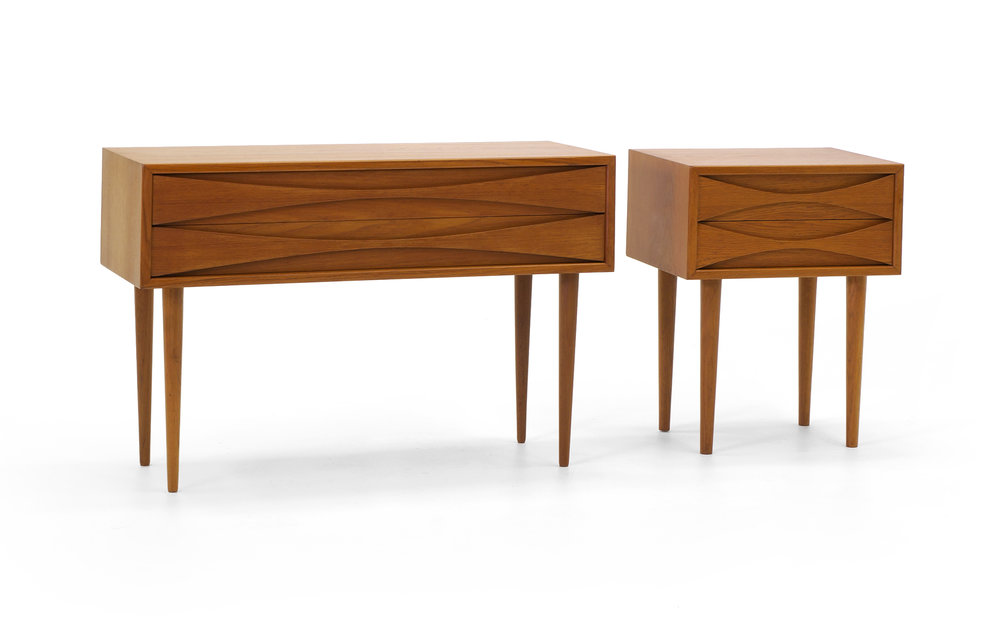Arne Vodders Danish Teak Nightstands/End Tables, Pair In Complimenting Sizes