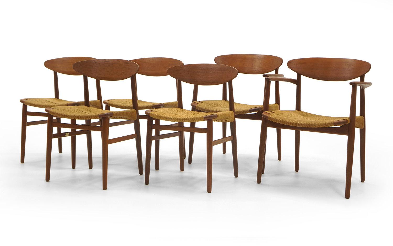 Set Of Six Danish Modern Teak Dining Chairs By Ejner Larsen And Aksel Madsen Retro Inferno