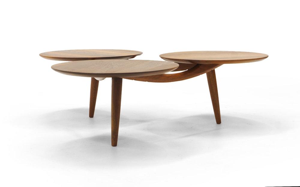 Danish Modern Teak Coffee Table, Three Round Surfaces, Unique Design