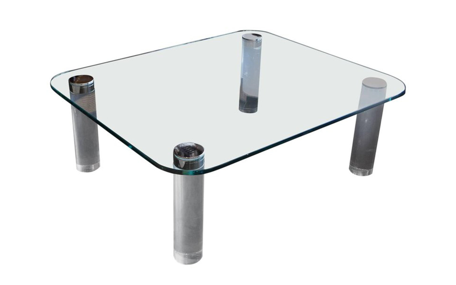 Pace Collection Glass Lucite and Chrome Coffee Table