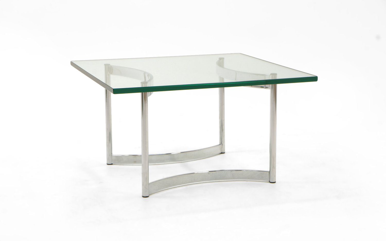 Square Glass And Chrome Coffee Table Retro Inferno