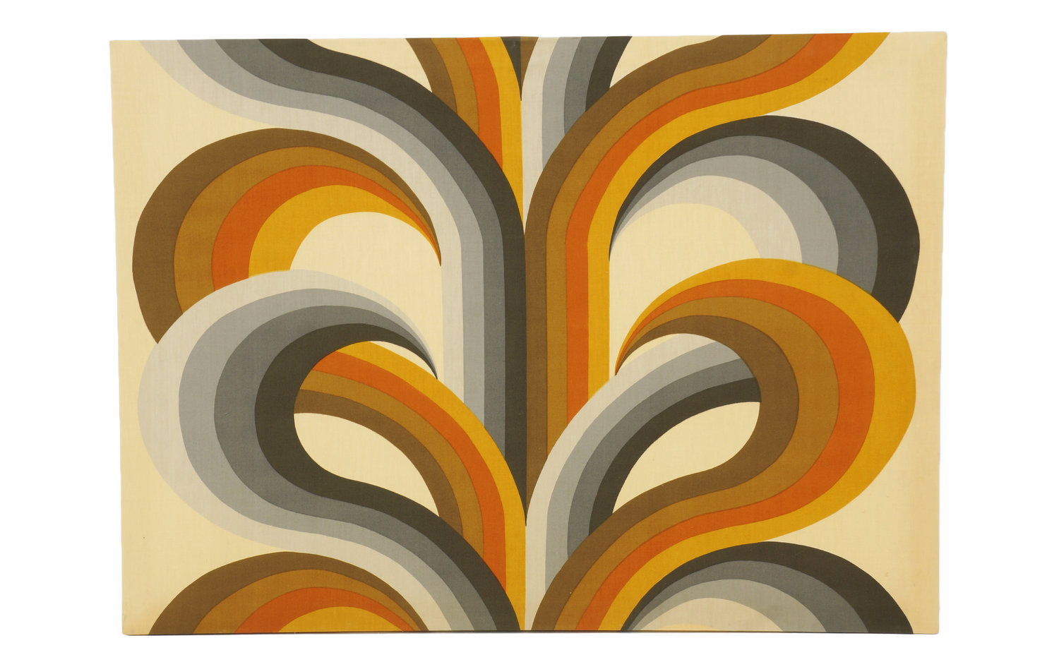 Fabric Art, 1970s Mod Screen Print Stretched Over a Wood Frame ...