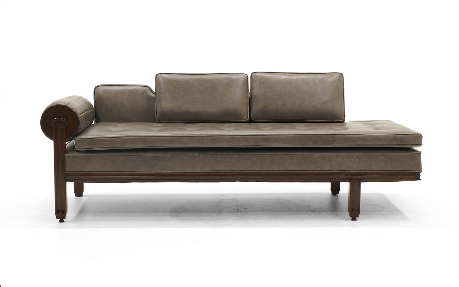 Rare Dunbar Gray Leather Sofa Chaise, Expertly Reupholstered — RETRO ...