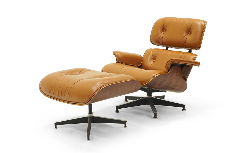 Rare Eames Lounge Chair 670 And Ottoman 671. Rosewood, Original Cognac  Leather.