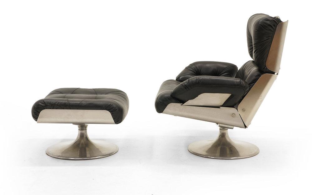 Amazing French Lounge Swivel Chair Ottoman Matte Chrome Cast Aluminum Black Vinyl Retro Inferno Pabps2019 Chair Design Images Pabps2019Com