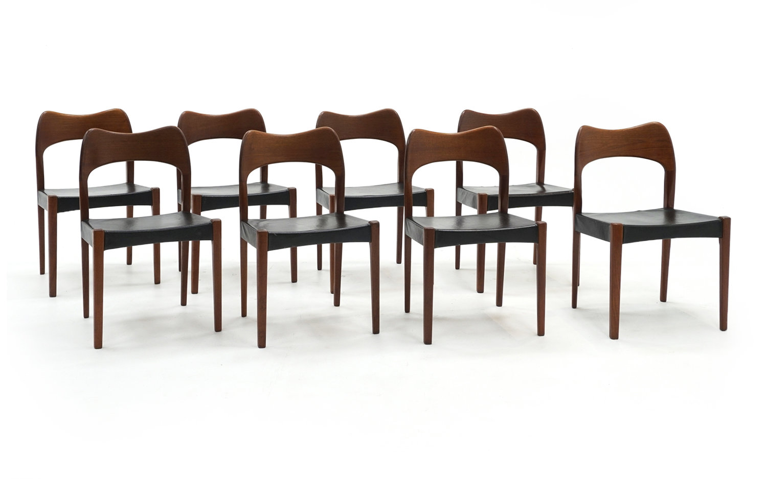 Astounding Eight Teak With Black Leather Dining Chairs By Niels Otto Moller Retro Inferno Creativecarmelina Interior Chair Design Creativecarmelinacom