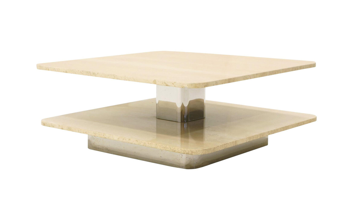 Coffee Table In The Style Of Harvey Probber Two Tier Square Travertine Tops Retro Inferno