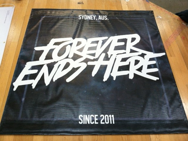 5' x 5' Mesh Band Scrims | Forever Ends Here