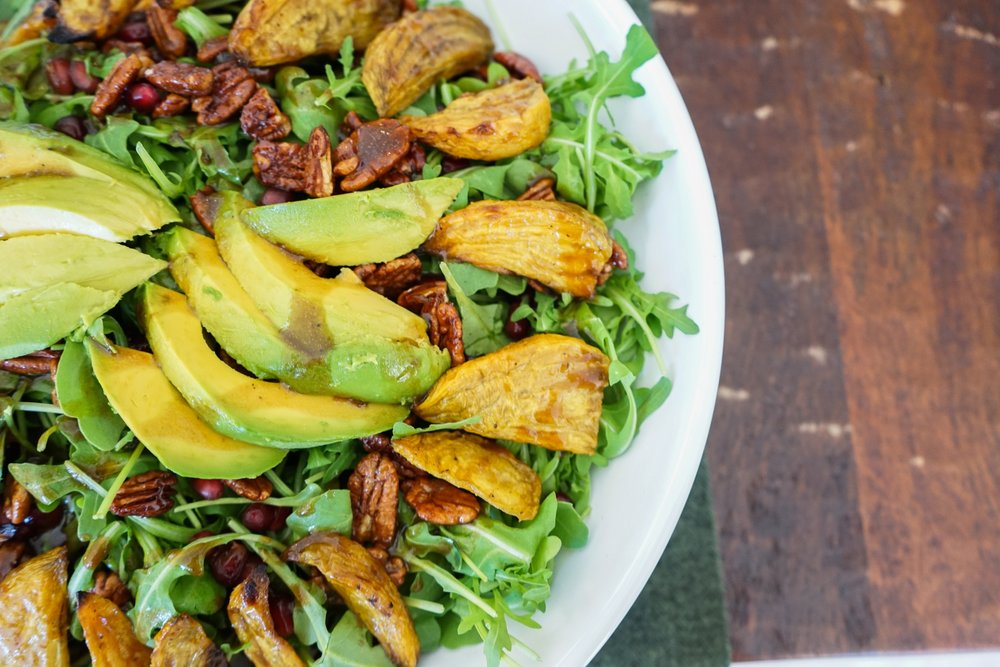 Autumn Salad with Spiced Maple Pecans